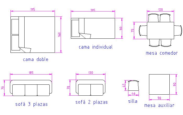 4 5 practica lo aprendido for Medidas de mobiliario de una casa