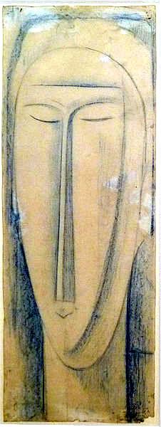 Estudio para cabeza de mujer. Modigliani  Imagen de dominio público vía Wikimedia Commons
